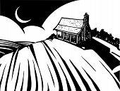image of prairie  - Woodcut style image of a log cabin house on a prairie - JPG