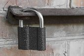 picture of hasp  - Photo of the padlock and old metal hasp closeup - JPG