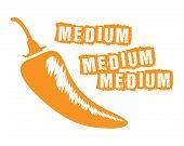 pic of chillies  - an orange medium chilli with medium text - JPG