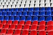 picture of grandstand  - Empty grandstand with Seating in the colors of the Russian flag - JPG