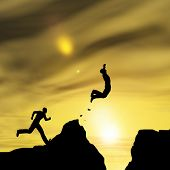 picture of gap  - Concept or conceptual young 3D man or businessman silhouette jump happy from cliff over  gap sunset or sunrise sky background - JPG