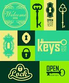 pic of key  - Retro icons set of keys  - JPG