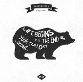 picture of bear  - inspiration quote hipster vintage design label  - JPG