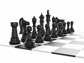 image of chess pieces  - Chess board with starting positions aligned chess pieces isolated on white background - JPG