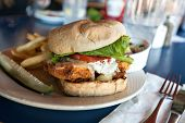 stock photo of sandwich  - Fried fish sandwich with tartar sauce and french fries - JPG