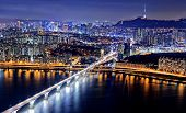 picture of seoul south korea  - Seoul Tower and Downtown skyline at night - JPG