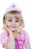picture of tiara  - Little girl dressed as princess in pink with tiara - JPG