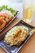 stock photo of glass noodles  - Noodle with dired Yong Tau Foo and chrysanthemum water side big window