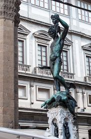 stock photo of beheaded  - Statue of perseus with head in hand - JPG