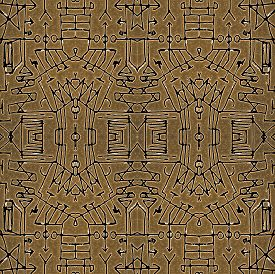foto of motif  - Mixed media technique abstract tribal geometric seamless pattern symbols motif in brown and black colors - JPG