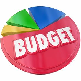 picture of budget  - Budget 3d word on a pie chart to illustrate planning your money spending or saving for financial control - JPG