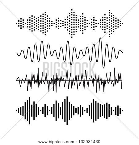 poster of Set of sound audio waves music. EQ musical melody technology. Record vector. Musical wave form. Rocorder melody sound. Music wave elements.