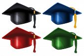 Set of different colored Graduation caps with black and gold tassel. Isolated on white background. G poster