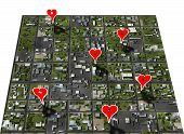 stock photo of home is where your heart is  - Placemark favorite places in your town map with google style heart shape place markers - JPG