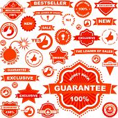Set of red design elements for sale. Great collection.
