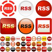 RSS buttons for web. Vector collection.