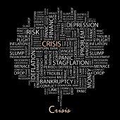 CRISIS. Word collage on black background. Vector illustration.