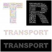 TRANSPORT. Word collage. Vector illustration.