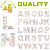 QUALITY. Vector letter collection. Wordcloud illustration.