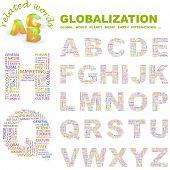 GLOBALIZACIÓN. Colección de la letra del vector. Ilustración de Wordcloud.