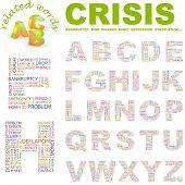 CRISIS. Colección de la letra del vector. Ilustración de Wordcloud.