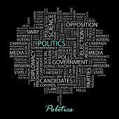 POLITICS. Word collage on black background. Vector illustration.