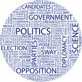 POLITICS. Word collage on white background. Vector illustration.