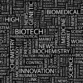 BIOTECH. Seamless vector pattern with word cloud.