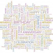 BIRTHDAY. Word collage on white background. Vector illustration.