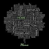 HOME. Word collage on black background. Vector illustration.