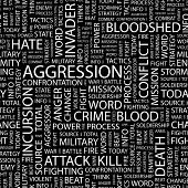 AGGRESSION. Seamless vector pattern with word cloud. Illustration with different association terms.