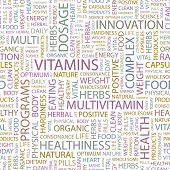 VITAMINS. Seamless vector pattern with word cloud. Illustration with different association terms.