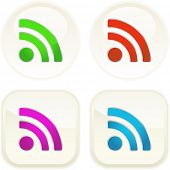 RSS button set. Vector illustration.