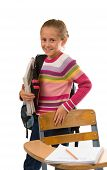 Pretty School Girl With Books And Backpack