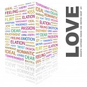 LOVE. Word collage on white background. Illustration with different association terms.