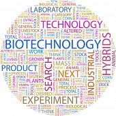 BIOTECHNOLOGY. Word collage on white background. Illustration with different association terms.