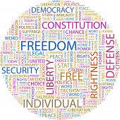 FREEDOM. Word collage on white background. Illustration with different association terms.
