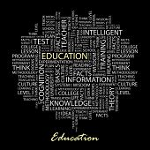 EDUCATION. Word collage on black background. Illustration with different association terms.