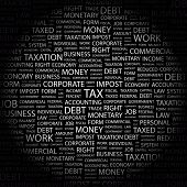 TAX. Word collage on black background. Vector illustration.
