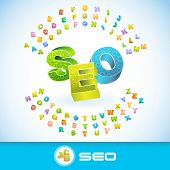 SEO. Vector 3d illustration.