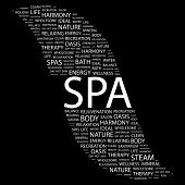 SPA. Word collage on black background. Illustration with different association terms.