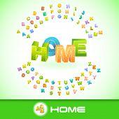 HOME. Vector 3d illustration.