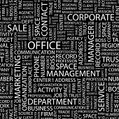 OFFICE. Seamless vector pattern with word cloud. Illustration with different association terms.