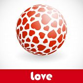 Love. Globe with heart mix. Vector illustration.