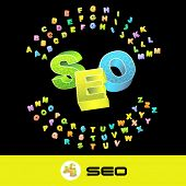 SEO. Vector 3d illustration with colored alphabet.