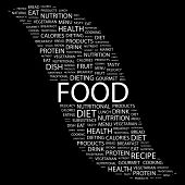 FOOD. Word collage on black background. Vector illustration.