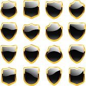 Vector shields for design. Black collection.