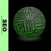 SEO. Globe with different association terms.