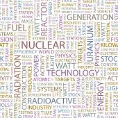 NUCLEAR. Seamless vector pattern with word cloud. Illustration with different association terms.