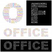 OFFICE. Word collage. Illustration with different association terms.